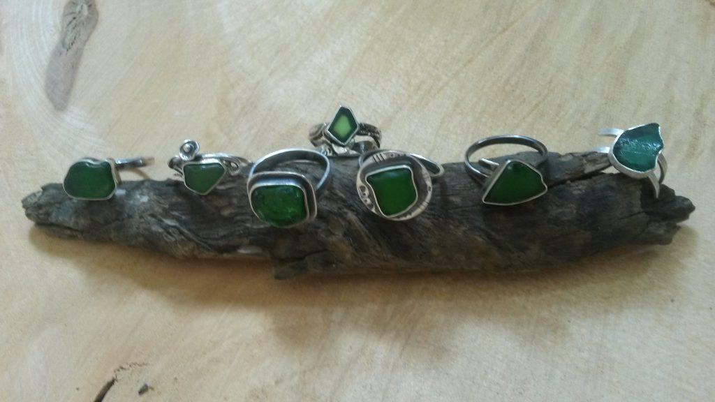 Silberringe mit Seeglas